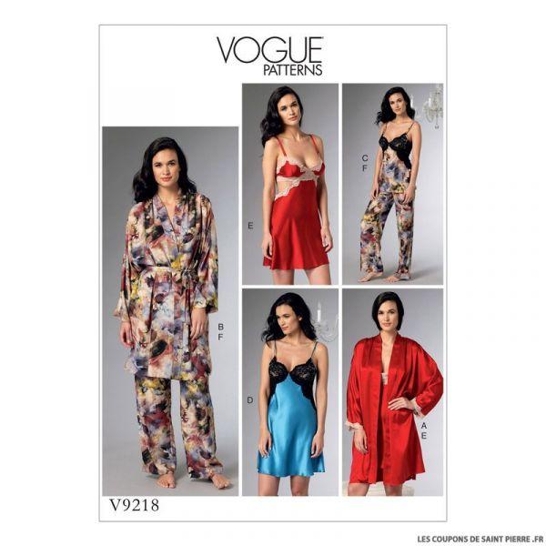 Patron Vogue V9218 : Chemise de nuit et pantalon