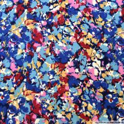 Microfibre imprimée floral bleu et rose
