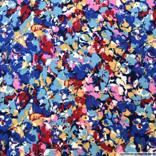 Tissu microfibre imprimé floral bleu et rose
