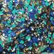 Tissu microfibre imprimé floral turquoise et marron