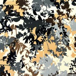 Tissu microfibre imprimé feuilles beige et gris