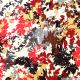 Tissu microfibre imprimé feuilles bordeaux et gris