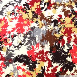 Microfibre imprimée feuilles bordeaux et gris