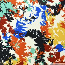 Tissu microfibre imprimé feuilles brique et bleu