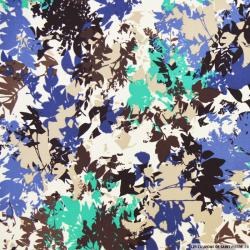 Tissu microfibre imprimé feuilles turquoise et bleu