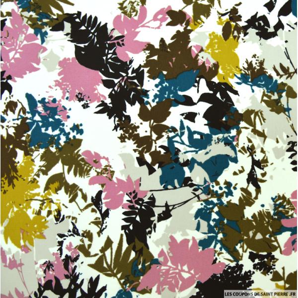 Tissu microfibre imprimé feuilles rose et canard