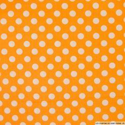 Coton imprimé pois Ø 1cm blanc fond orange