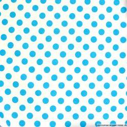 Coton imprimé pois Ø 1cm turquoise fond blanc cassé
