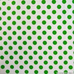 Coton imprimé pois Ø 1cm vert fond blanc cassé