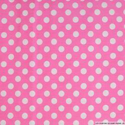 Coton imprimé pois Ø 1cm blanc fond rose