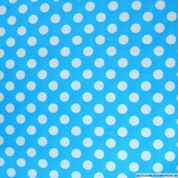 Coton imprimé pois Ø 1cm blanc fond turquoise