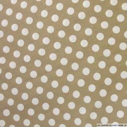 Coton imprimé pois Ø 1cm blanc fond taupe