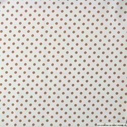 Coton imprimé pois Ø 5 mm taupe fond blanc cassé