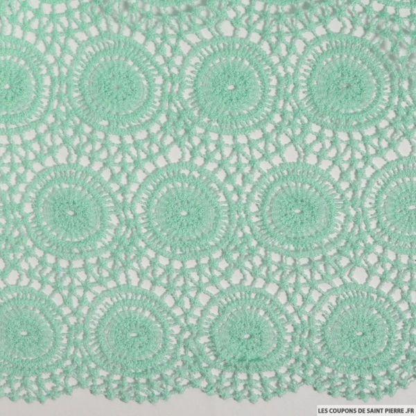Dentelle macramé festonnée vert d'eau