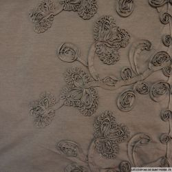 Jersey polyester broderie relief base marron