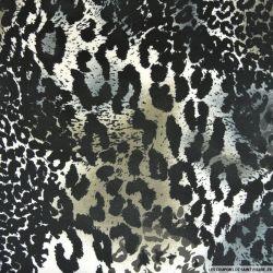 Jersey polyester imprimé sauvage gris et kaki