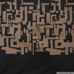 Jersey polyester imprimé graphique marron et noir