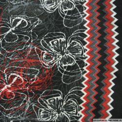 Jersey polyester imprimé fleurs graphique fond noir