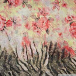 Mousseline polyester imprimé tigre et fleurs rouge