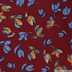 Tissu microfibre imprimé crocus bleu fond bordeaux
