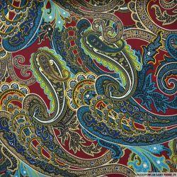Tissu microfibre imprimé cachemire turquoise fond bordeaux