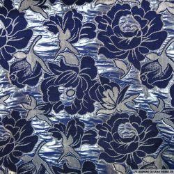 Brocart fleuri bleu