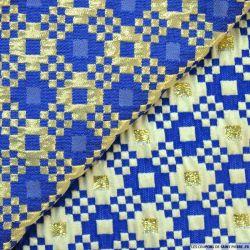 Brocart damier bleu fond or