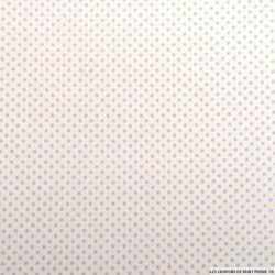Coton imprimé pois Ø 1mm ciel fond blanc cassé
