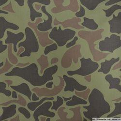 Gabardine de coton camouflage fond kaki