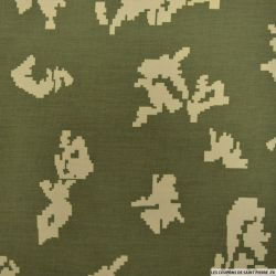 Polycoton imprimé camouflage pixel fond kaki