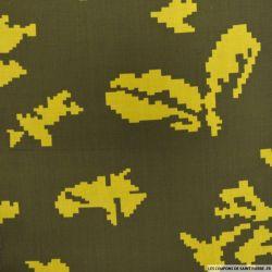 Polycoton imprimé camouflage pixel fond olive