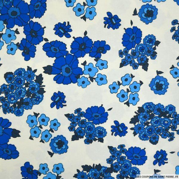 Coton imprimé bouquet de fleurs bleu sur fond crème