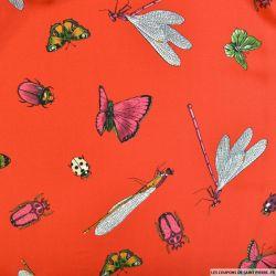 Satin polyester papillon et coccinelle fond rouge