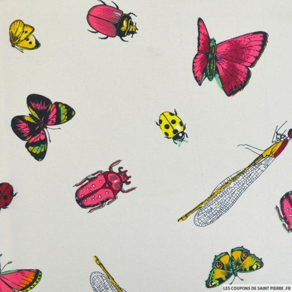 Satin polyester papillon et coccinelle fond ivoire