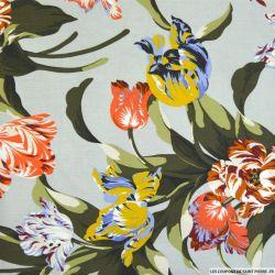 Viscose imprimé tulipes fond gris