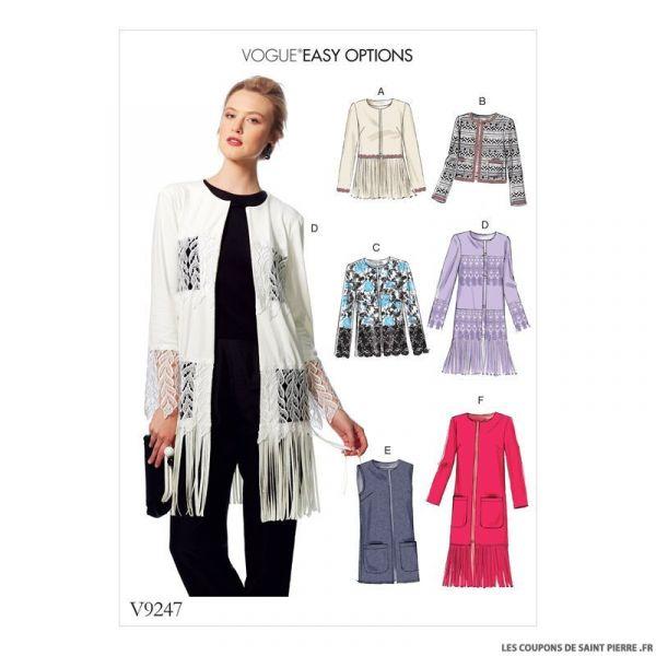 Patron Vogue V9247 : Veste et gilet