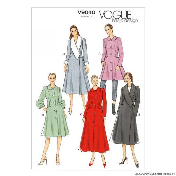 Patron Vogue V9040: Manteau avec col