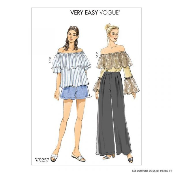 Patron Vogue V9257 : Haut, short et pantalon