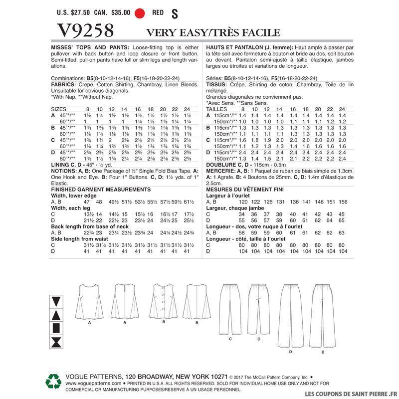 Pattern y pantalones Vogue Vogue V9258Top y Pattern pantalones Vogue V9258Top Pattern hCxrtQds