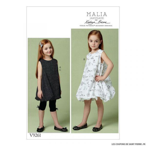 Patron Vogue V9261 : Tunique et robe fillette