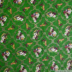 Coton imprimé arabesque de noël vert