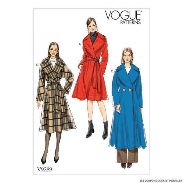 Patron Vogue V9289 : Manteau et ceinture