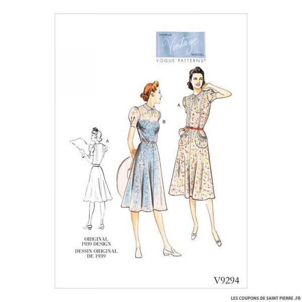 Patron Vogue V9294 : Robe vintage