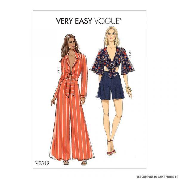 Patron Vogue V9319: Haut , short ou pantalon