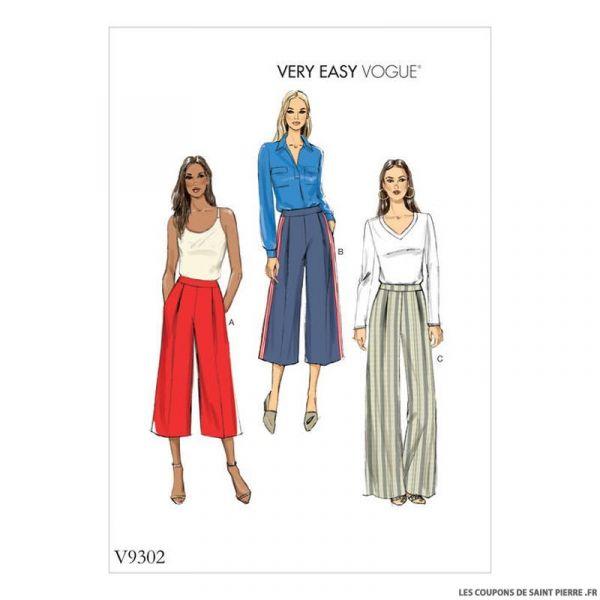 Patron Vogue V9302 : Pantalon large