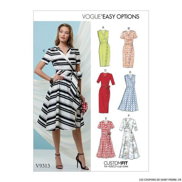 Patron Vogue V9313 : Robe portefeuille