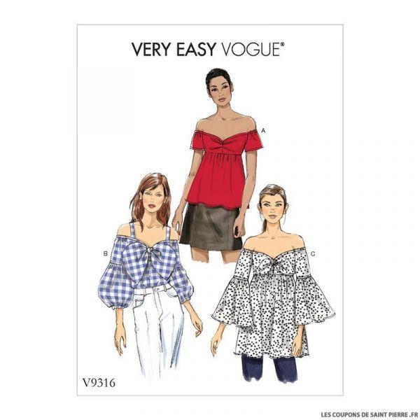 Patron Vogue V9316 : Haut épaules dénudées