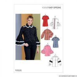 Patron Vogue V9331: Chemise à manches évasés