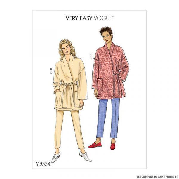 Patron Vogue V9334 : Veste avec poches