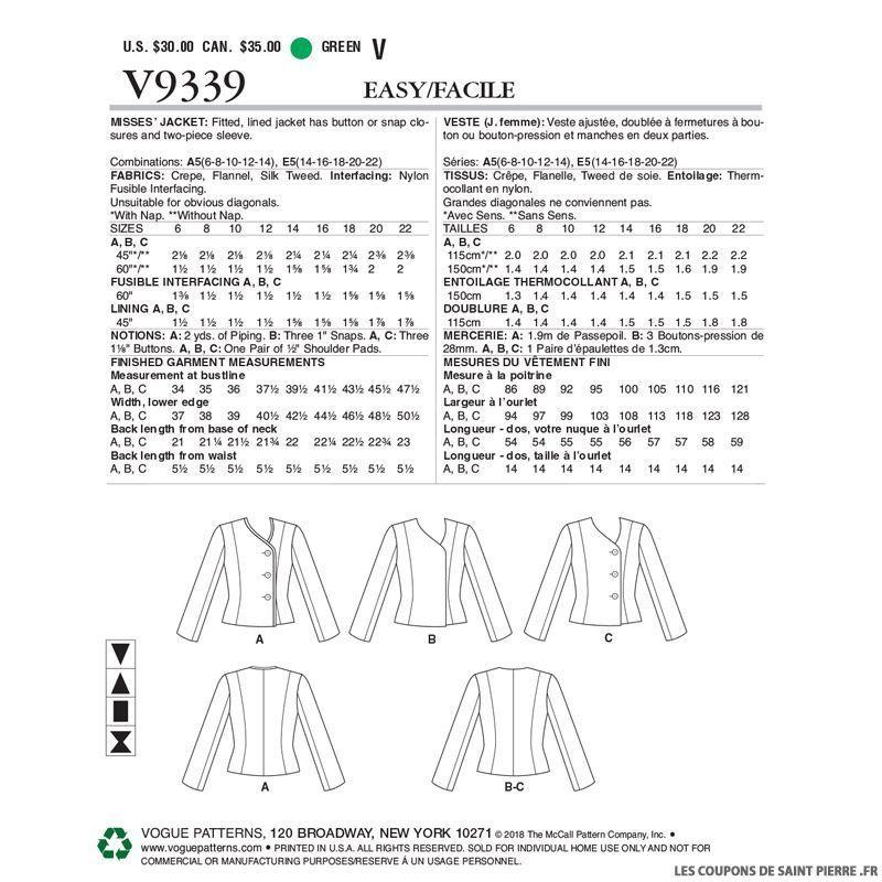 Vogue Vogue Patron Couture Haute Patron V9339Veste j4Lq3R5A